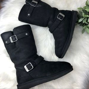ad42db279a8 UGG Shoes | Like New Crackle Leather Buckle Boots | Poshmark